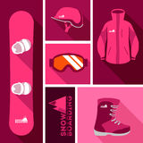 Snowboard equipment. Sports background with snowboard equipment flat icons. Helmet, goggles, jacket, snowboard, boots with a possible logo snowboard company Royalty Free Stock Images