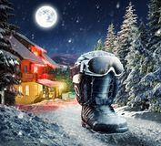 Snowboard equipment in winter village Royalty Free Stock Images