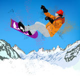 Snowboard estremo Fotografia Stock Libera da Diritti