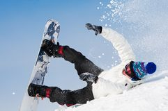 Snowboard extreme falling Stock Images