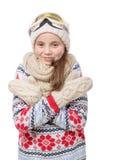 Snowboard feliz de la chica joven Imagen de archivo