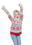 Snowboard feliz de la chica joven, aislada en el fondo blanco Imagen de archivo libre de regalías