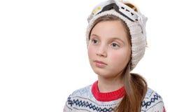 Snowboard feliz de la chica joven en el fondo blanco Imagen de archivo libre de regalías
