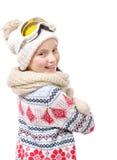 Snowboard feliz de la chica joven en el fondo blanco Imagen de archivo