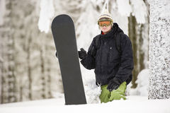 Snowboard Forest Winter Stock Photography
