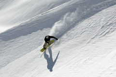 Snowboard freeride in high mountains royalty free stock photo