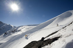 Snowboard freeride in high mountains. Snow, winter Stock Image
