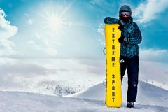 Snowboard freeride at the top mountains. Extreme sport royalty free stock image