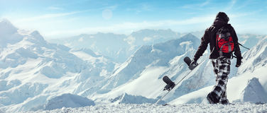 Snowboard freerider  in the mountains Stock Images