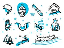 Snowboard freestyle collection icon set. Handdrawn separated Blue and black lines on white. Fast and rough sketches Stock Photos