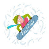 Snowboard Funky Free Rider Jump Fun Cartoon Stock Images