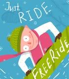 Snowboard Funny Free Rider Jump Fun Poster Design Stock Photo
