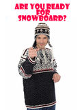 Snowboard. Funny winter man in warm hat Stock Images