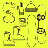 Snowboard gear vector line icon set. Royalty Free Stock Photography