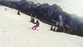 Snowboard girl stock footage