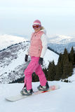 Snowboard Girl Before Downhill Royalty Free Stock Photos