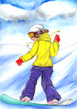 Snowboard girl illustration Royalty Free Stock Photos