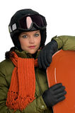 Snowboard girl in orange and green outfit Stock Photography