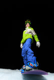Snowboard girl ready to slide at night Royalty Free Stock Images