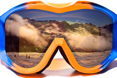 Snowboard glasses. Isolated with reflection Royalty Free Stock Images