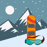Snowboard and glasses with mountains landscape. Vector illustration eps 10 Royalty Free Stock Photography