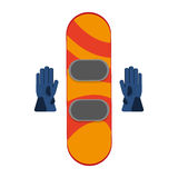 Snowboard with gloves winter sport icons. Vector illustration eps 10 Royalty Free Stock Photography