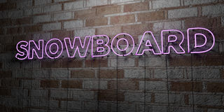 SNOWBOARD - Glowing Neon Sign on stonework wall - 3D rendered royalty free stock illustration Royalty Free Stock Image