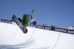 Snowboard Half Pipe. Race World Cup snowboard Half Pipe in valmalenco Italy Royalty Free Stock Photography
