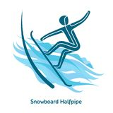 Winter games icon. Snowboard Halfpipe icon. Olympic species of events in 2018. Winter sports games icons,  pictograms for web, print and other projects. Vector Stock Photos