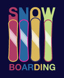 Snowboard -hand drawn sport vector typography poster Stock Images