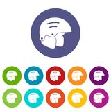Snowboard helmets set icons. In different colors isolated on white background Royalty Free Stock Photos