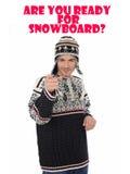 Snowboard. Homem engraçado do inverno no chapéu morno imagens de stock