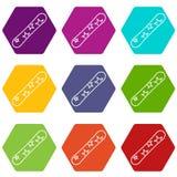 Snowboard icon set color hexahedron Stock Photos