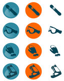 Snowboard icons. These are few common snowboard items Royalty Free Stock Photography