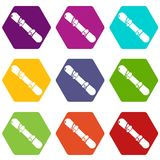 Snowboard icons set 9 vector. Snowboard icons 9 set coloful isolated on white for web Royalty Free Stock Photos