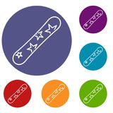 Snowboard icons set. In flat circle reb, blue and green color for web Stock Photos