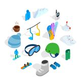 Snowboard icons set, isometric 3d style. Snowboard icons set in isometric 3d style isolated on white background Stock Photos