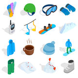 Snowboard icons set, isometric 3d style Royalty Free Stock Photos