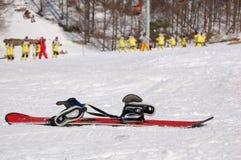 Snowboard incustodito Fotografia Stock