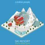 Snowboard isometrico piano di vettore di sport della montagna di inverno della stazione sciistica Immagini Stock