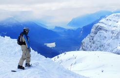 Snowboard. Italy, Alps, The view from the popular ski track Stock Image