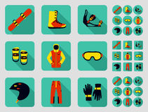 Snowboard and its equipment set. Stock Photo
