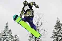 Snowboard jump Stock Photo