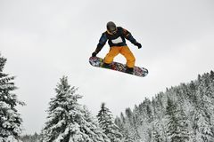 Snowboard jump Stock Photography