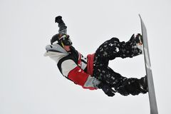 Snowboard jump Royalty Free Stock Photo