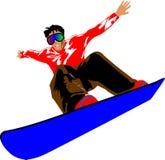 Snowboard jump. Teenager jumping high on a snowboard at the ski resort Royalty Free Stock Photos