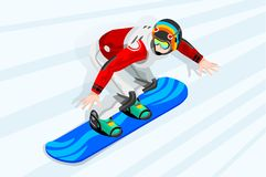 Snowboard Cross Winter Sports. Snowboard jump race snowboarder athlete winter sport man vector 3D isometric icon Stock Image