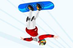 Snowboard Halfpipe Winter Sports. Snowboard jump race snowboarder athlete winter sport man vector 3D isometric icon Stock Photos