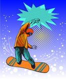 Snowboard jumping guy pop art comic style illustration Stock Images