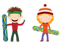 Snowboard kids. Cute cheerful kids with boards for snowboard. Color illustration Stock Photo